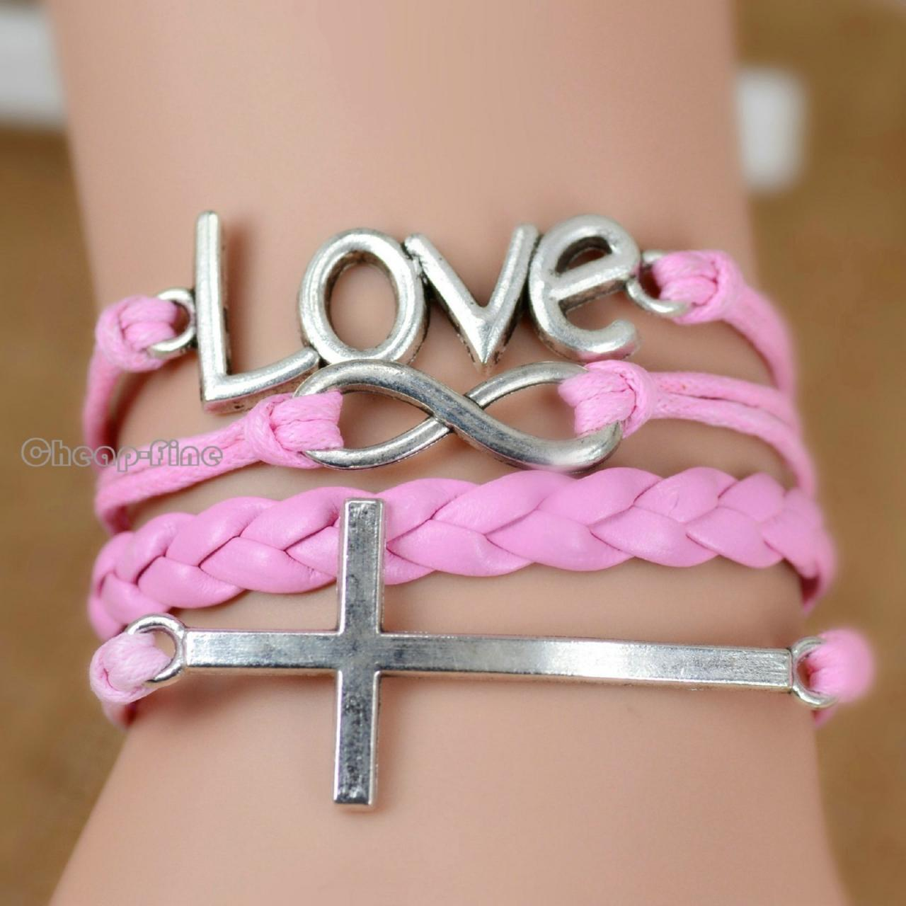 Pink Infinity Love Cross Charm Leather Nautical Friendship Bracelet Couple Gift IB274