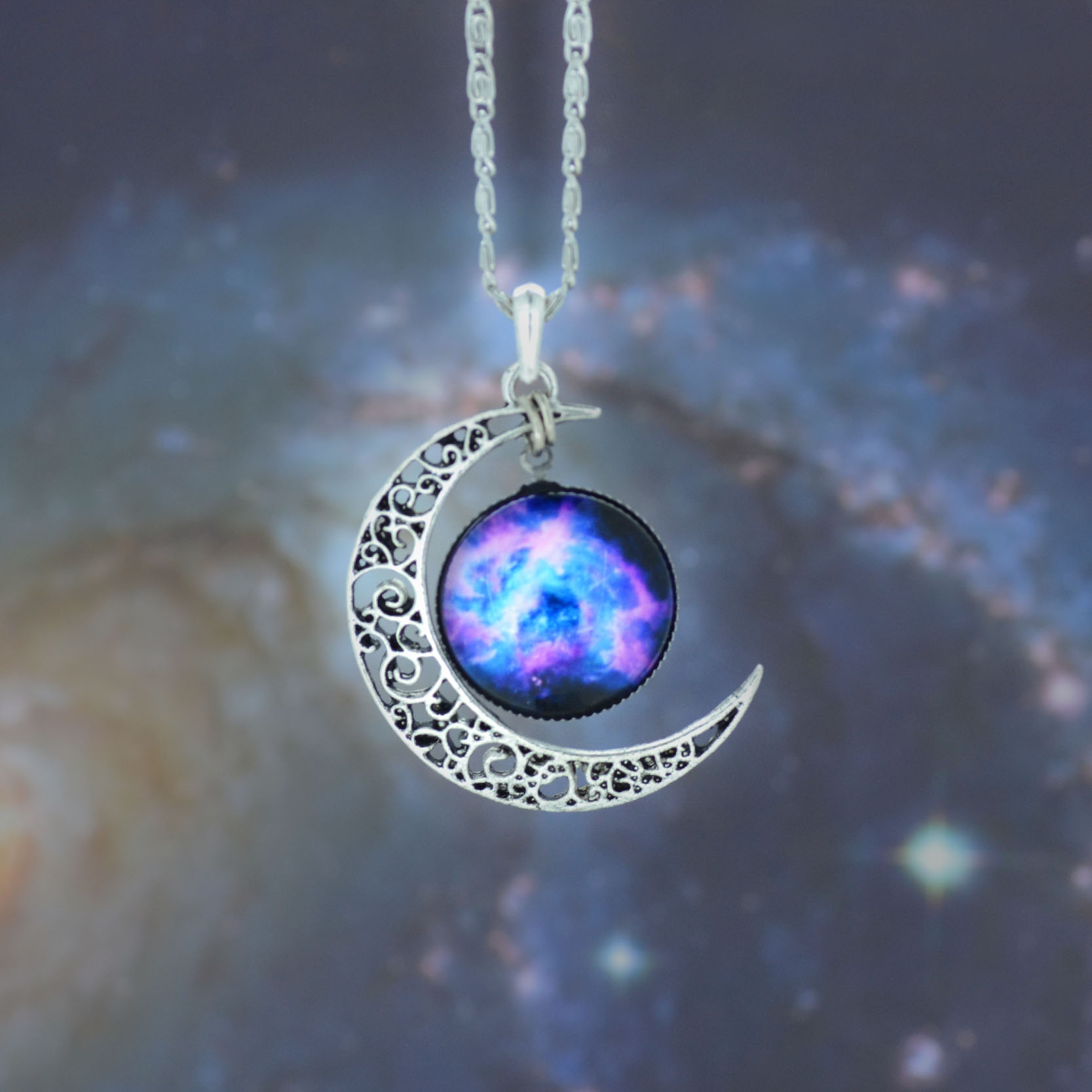 Galaxy necklacesilver moon pendant necklacemoon necklacecharm galaxy necklacesilver moon pendant necklacemoon necklacecharm necklacebib necklacehollow blue star galactic cosmic moon necklace ib846 aloadofball Gallery
